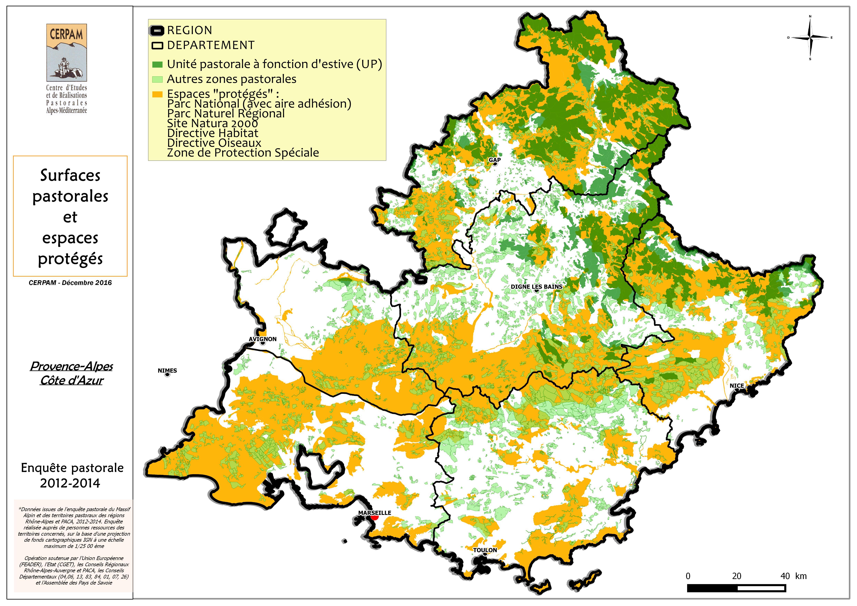 Carte des surfaces pastorales et espaces protégés