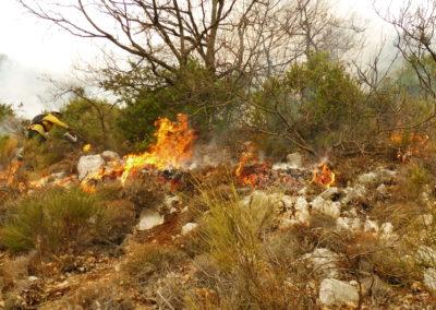 Le brûlage dirigé s'étend sur l'adret : les genévriers, les genêts et les euphorbes épineuses sont de bons combustibles. Les feuillus en dormance ne sont pas attaqués par le feu. De même le sol froid est très peu impacté par le brûlage dirigé (environ 5 cm de sol touchés, contre 80 cm voire plus pour les grands incendies d'été)