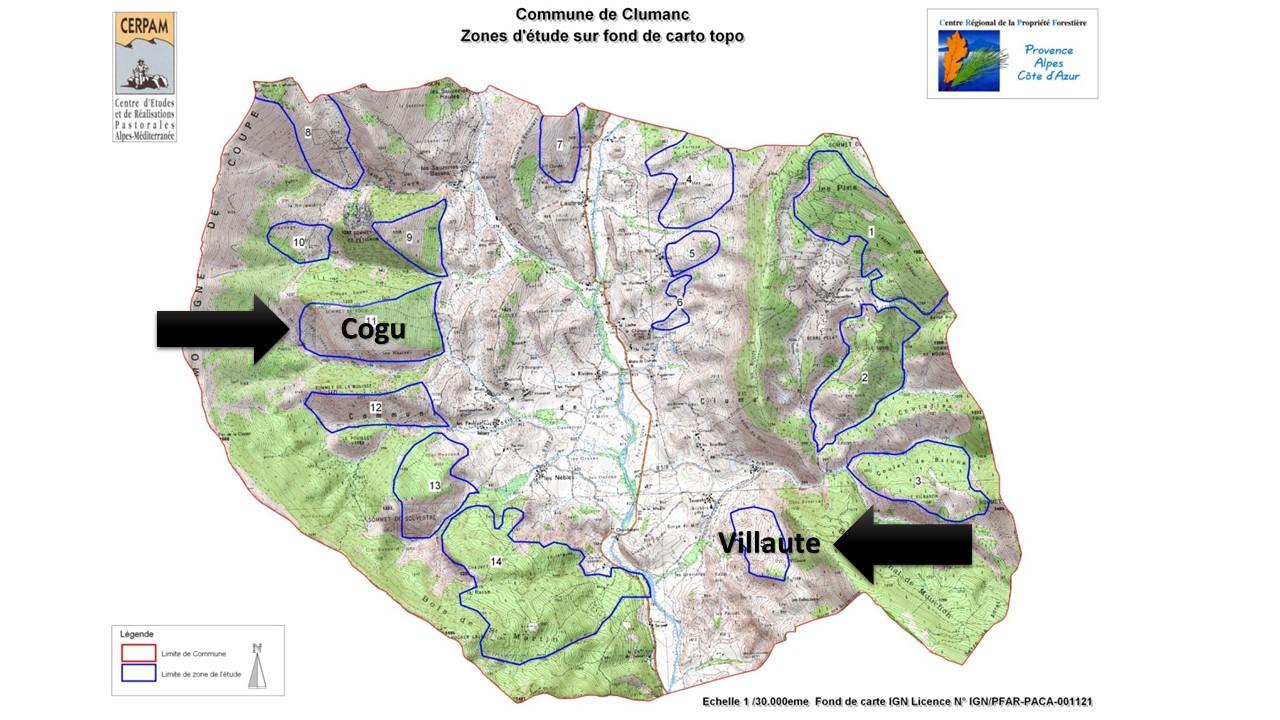 Carte : zones d'études de Clumanc