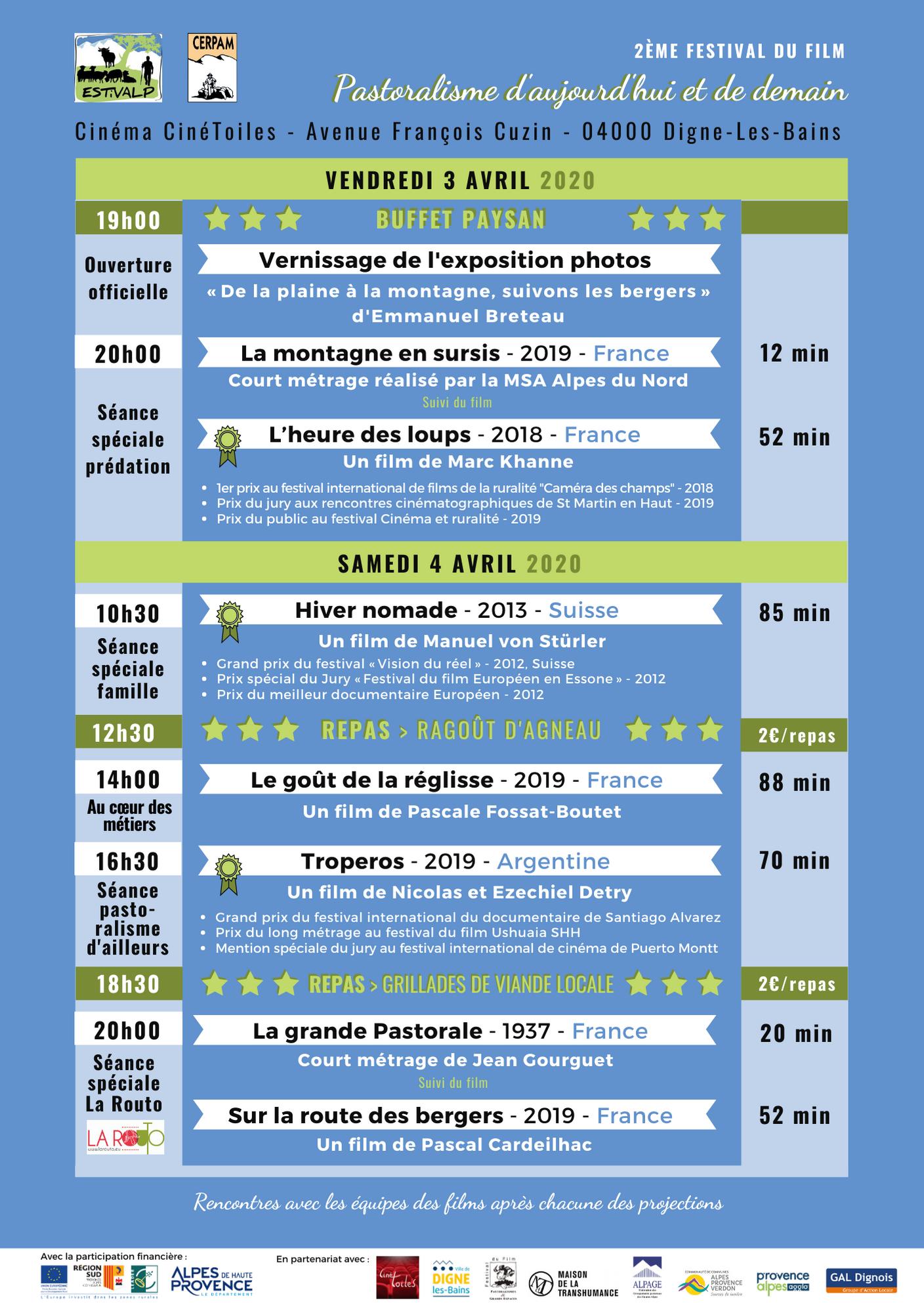 PROGRAMME festival 3&4 avril 2020